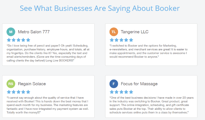 Testimonial Examples Used on Landing Pages - Booker