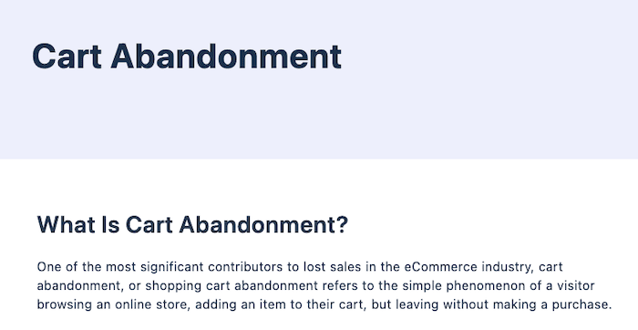 Examples of Great Content Guides - Cart Abandonment